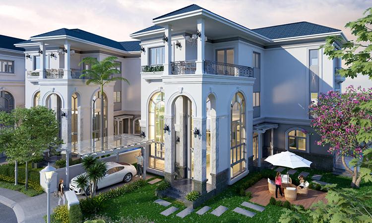 Thiết kế bên ngoài một căn biệt thự Sol Villas.