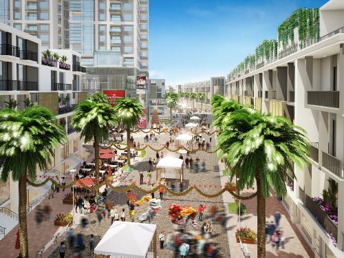 Phối cảnh khu phố thương mại tại dự án.