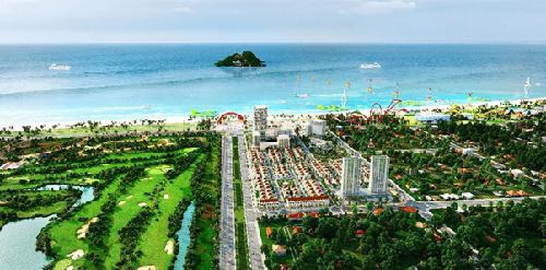 Phối cảnh dự án Cua Lo Beach Villa nằm đối diện khu giải trí Cửa Hội.