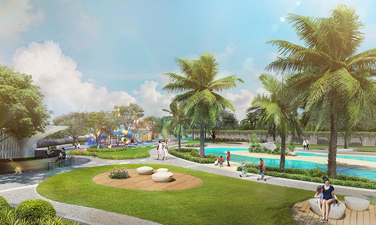 Phối cảnh công viên Symphony Park mở ra không gian sống xanh, yên bình cho con trẻ phát triển.