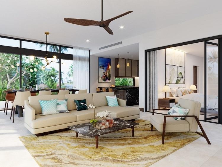 Không gian nội thất biệt thự Melia Hồ Tràm Beach Resort.