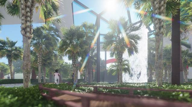 Lớp bao bọc dự án đầu tiên là dòng sông Cả Cấm. Lớp thứ hai nằm tại tầng đế dự án với hồ cảnh quan cùng không gian cây xanh hàng chục nghìn m2 uốn theo các tòa nhà. Lớp thứ ba thuộc trên mỗi tòa tháp, Sunshine Group bố trí hàng chục khu vườn treo quy mô lớn trên mỗi tầng lẻ của khu căn hộ để đảm bảo mang không khí tươi và sạch vào từng căn hộ. Cuối cùng, khu tầng thượng cũng được phủ xanh hàng nghìn m2 cây xanh.