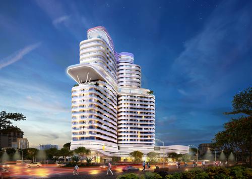 Phối cảnh công trình thương mại hỗn hợpThe Manor Tower Lào Cai.