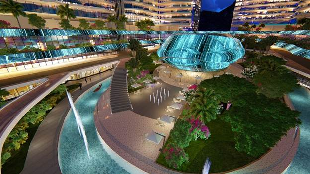 Phối cảnh dự án nghỉ dưỡng xây dựng theo xu hướng không gian mở. Website: https://marinanhatrang.sunshinegroup.vn/.Hotline: 1800 6193.