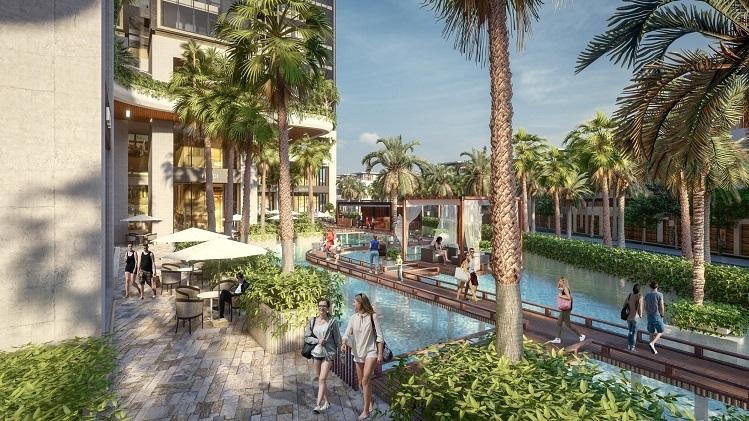 Để biến các toà tháp thành những ốc đảo resort, chủ đầu tư chi ra một số tiền lớn để phát triển hệ thống cầu dạo bộ nối các tổ hợp bungalow liên hoàn trên mặt hồ. Toàn bộ hệ thống này xây dựng bằng vật liệu thân thiện với môi trường như tre, gỗ...