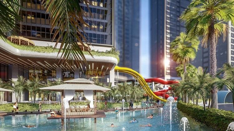 Trong khuôn viên hồ nhân tạo, chủ đầu tư còn phát triển tổ hợp công viên nước Sunshine Water Park cho trẻ nhỏ với hàng chục trò chơi thể thao dưới nước như boomerang, lốc xoáy, vòng trượt, sông lười thuỷ cung.
