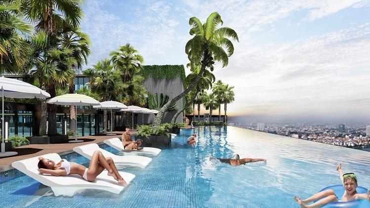 Chủ đầu tư dự án cho biết thêm, hệ thống cây xanh mặt nước hiện diện khắp nơi trong dự án từ tầng đế, nội khu các tầng căn hộ, cho đến tầng mái ngập tràn sắc xanh của những khu vườn nhiệt đới bao quanh đường dạo bộ chân mây, vườn thiền, hồ bơi...