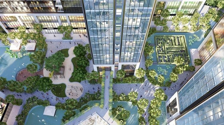 Diện tích mặt nước, cây xanh khổng lồ bao quanh các toà tháp không chỉ tạo nên nét đẹp cảnh quan độc đáo như resort cho Sunshine City Sài Gòn, mà còn nhằm điều hòa không khí, theo đại diện chủ đầu tư Sunshine Group.