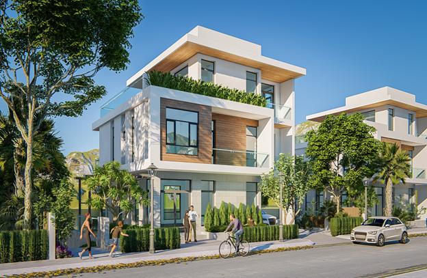 Phối cảnh một cănbiệt thự đơn lập trong dự án Green Pine Villas.