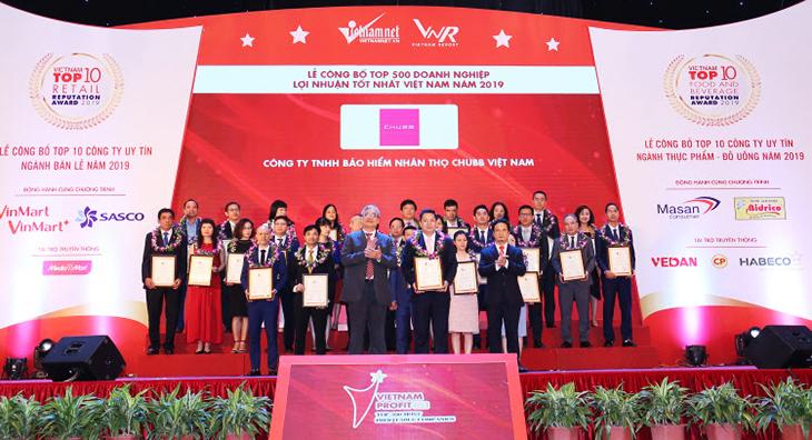 Công ty bảo hiểm nhân thọ Chubb Việt Namđược xướng tên trong Lễ công bố Top 500 doanh nghiệp lợi nhuận tốt nhất Việt Nam năm 2019. Ảnh: Chubb Life Việt Nam.
