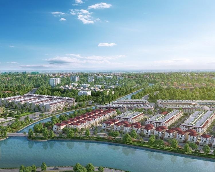 Phối cảnh toàn dự án khu biệt thự nhà phố Senturia Nam Sai Gon giai đoạn hai gồm 370 căn. Website: senturia.com.vn.