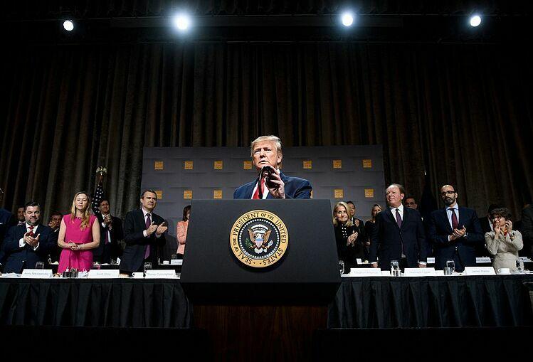 Tổng thống Mỹ Donald Trump tại sự kiện hôm qua. Ảnh: Bloomberg