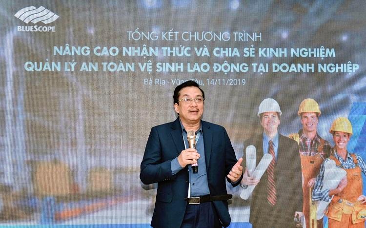 Ông Võ Minh Nhựt, Tổng giám đốc NS BlueScope Việt Nam cho biết chương trình triển khai nhằm hỗ trợ cộng đồng doanh nghiệp hướng đến mục tiêu sản xuất không tai nạn lao động.