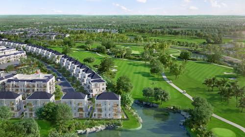 Phối cảnh West Lakes Golf & Villas bên sân golf.
