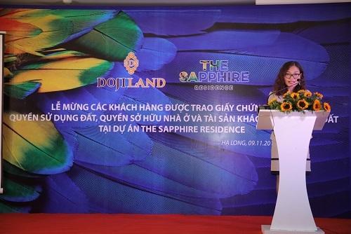 Bà Nguyễn Khánh Tâm, Phó Tổng giám đốc Dojiland - Đại diện Chủ đầu tư phát biểu tại buổi lễ.
