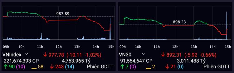 VN-Index giảm tiếp hơn 10 điểm trong phiên 22/11. Ảnh: SSI