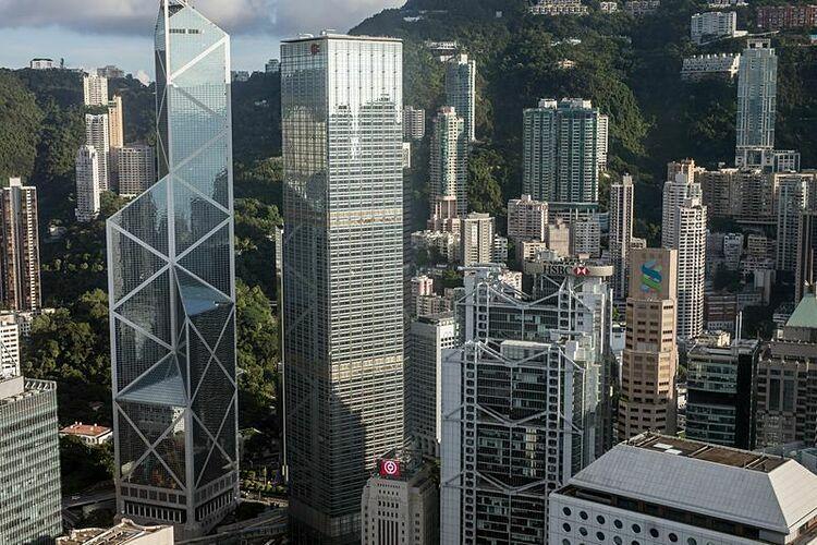 Tòa nhà của hàng loạt ngân hàng tại Hong Kong. Ảnh: Bloomberg