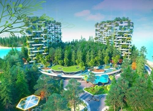 Kiến trúc nổi bật với lõi thông xanh.