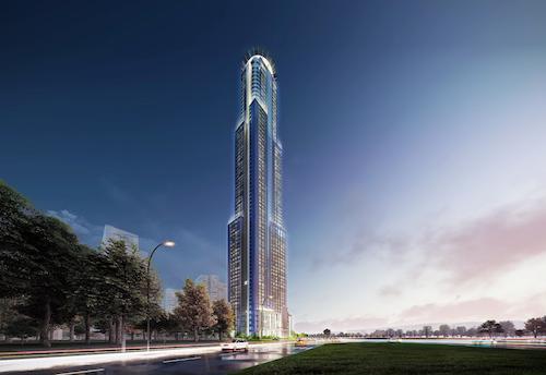 Phối cảnh tòa khách sạn Hyatt cao 69 tầng tại Eco Green Saigon.