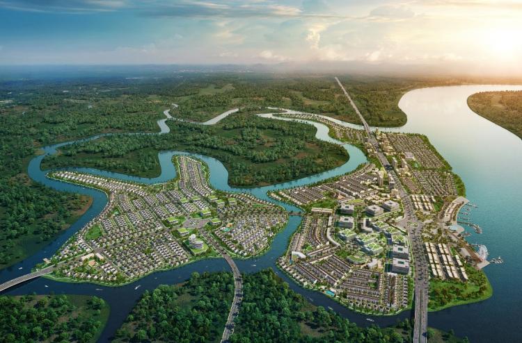 Phối cảnh toàn khu đô thị sinh thái thông minh Aqua City do Novaland phát triển tại Đồng Nai/