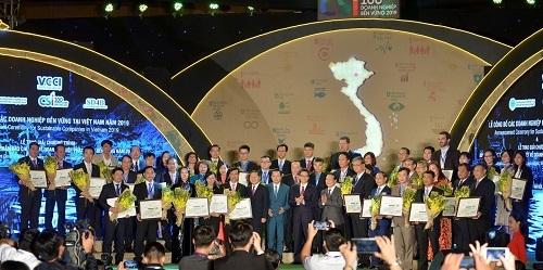 Đại diện các doanh nghiệp nhận giải thưởng. Ảnh: VCCI.