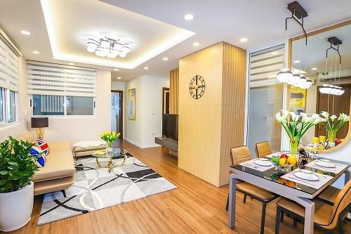Không gian một căn hộ 68,6 m2 tại dự án.