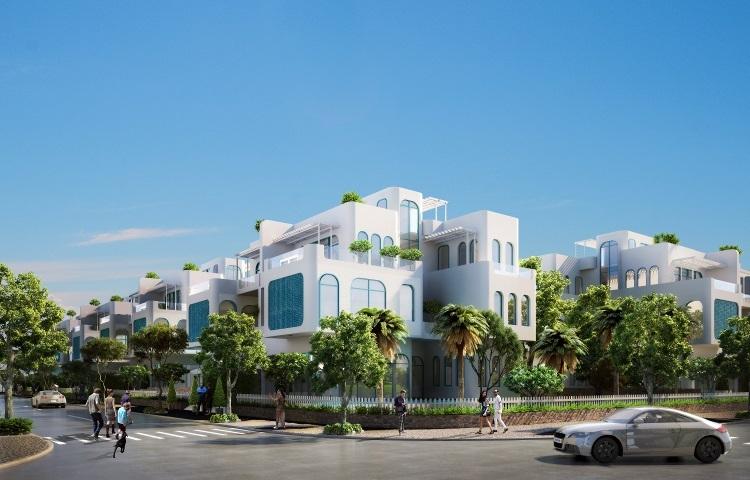 Phối cảnh biệt thự du lịch tại dự án Thera Premium với kiến trúc Cycladic, gam màu chủ đạo trắng xanh, thiết kế tối giản đề cao sự tinh tế, sang trọng và hài hòa với thiên nhiên.