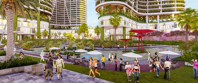 Ngoài hệ thống hồ bơi lớn nhất Sài Gòn, Tập đoàn Sunshine Group còn đầu tư hàng chục nghìn m2 phát triển những khu vườn nhiệt đới. Nằm hai bên dòng sông nhân tạo là những dãy phố đi bộ, cửa hàng mua sắm, ẩm thực, thời trang đa phong cách.