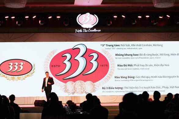 Ông Hoàng Đạo Hiệp - Phó Tổng Giám đốc phụ trách Marketing chia sẻ về ý nghĩa logo mới của Bia 333.