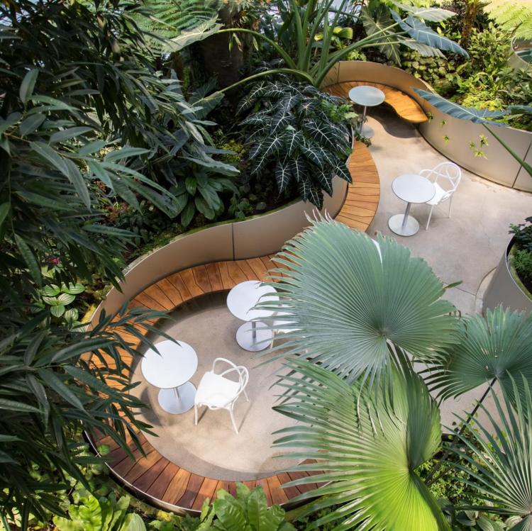 Giữa các khu vườn nhiệt đới, chủ đầu tư bố trí xen kẽ các quán cà phê, nhà hàng sân vườn giữa không gian ngập tràn cây xanh. Vừa uống cà phê thư giãn, làm việc giữa những khu vườn, vừa phóng tầm mắt bao trọn khung cảnh xanh mát của dòng Cả Cấm và Phú Mỹ Hưng là những trải nghiệm dự án mang lại cho cư dân.