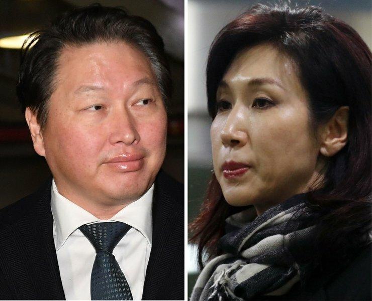 Hai vợ chồng Chey Tae-won (trái) và Roh Soh-yeong. Ảnh: Yonhap