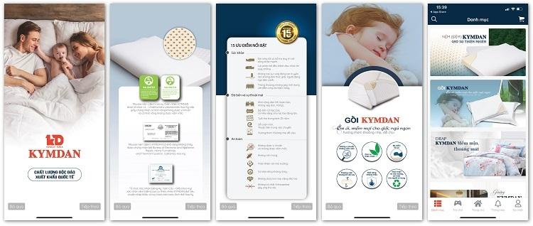 Giao diện app Kymdan Store đơn giản, dễ sử dụng, hiển thị đầy đủ thông tin, tình trạng đơn hàng cho khách hàng tiện lợitheo dõi.