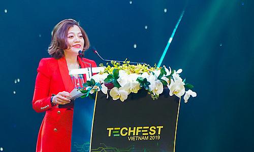 CEO VinTech City Trương Lý Hoàng Phi tại buổi khai mạc Techfest Vietnam 2019. Ảnh: M.T