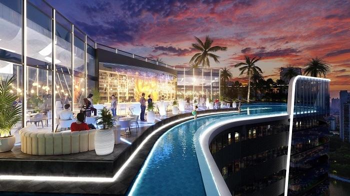 Thuộc phân khu giải trí, Sunshine Group triển khai tổ hợp quán bar và nhà hàng tầng thượng cho giới trẻ. Theo đại diện chủ đầu tư, tổ hợp sẽ sở hữu tầm nhìn ra trung tâm quận 1 và Phú Mỹ Hưng.