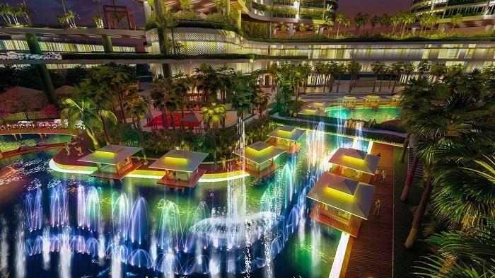 Vào buổi tối, trên những con phố mua sắm trong công viên ven sông nhiệt đới, đơn vị vận hành dự án sẽ tổ chức hàng loạt các màn trình diễn ánh sáng nghệ thuật kết hợp nhạc nước trên sông. Các em nhỏ vừa có thể mua sắm cùng ba mẹ, vừa thưởng thức các show diễn ánh sáng tại quảng trường, đại diện chủ đầu tư nói.