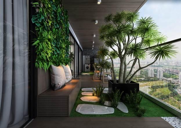 Vườn ngang toàn ban công mang đến không gian sống bình yên cho cư dân
