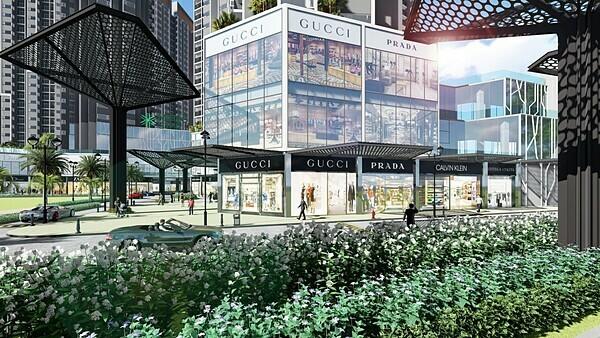Thiết kế sang trọng, hiện đại của shophouse nhìn từ hướng mặt tiền Xa Lộ Hà Nội