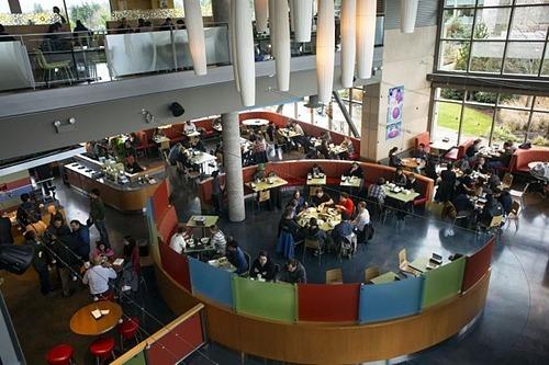 Một khu ăn uống bên trong văn phòng Google. Ảnh: Bloomberg