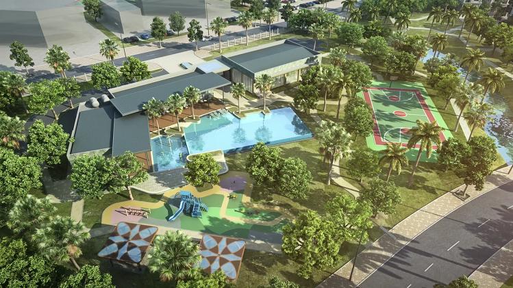 Phối cảnh tiện ích gồm câu lạc bộ cộng đồng và hồ bơi tại phân khu 82 căn biệt thự giai đoạn một.