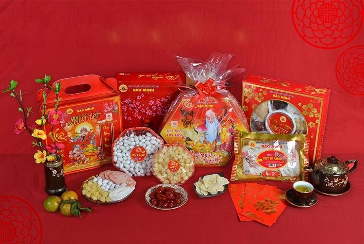 Bộ sản phẩm bánh mứt kẹo mùa Tết của thương hiệu Bảo Minh.