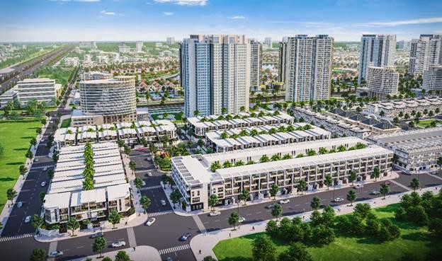 Phối cảnh dự án Đông Tăng Long - An Lộc với vị trí kề cận ba tòa tháp Tecco Vina Garden đã khởi công.