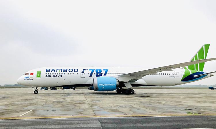 Chiếc Dreamliner Ha Long Bay tại sân bay Nội Bài. Ảnh: Anh Tú