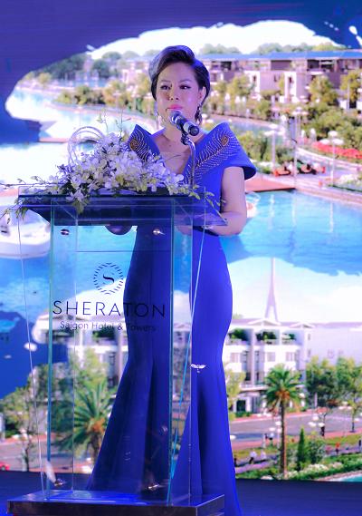 Bà Nguyễn Thị Thanh Tú - Chủ tịch HĐQT kiêm Tổng giám đốc Tập đoàn TLM chia sẻ tại tiệc tri ân.