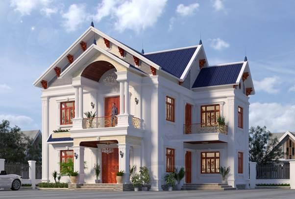 Mẫu nhà 2 tầng mái thái ấn tượng