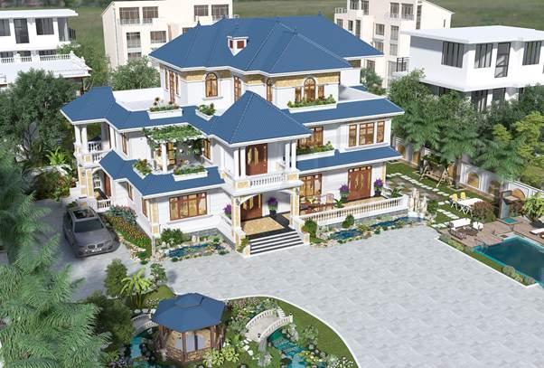 Biệt thự nhà vườn với không gian cảnh quan sân vườn đẹp.