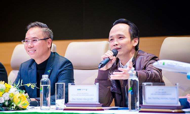 Chủ tịch và CEO Bamboo Airways trả lời báo chí chiều 26/12. Ảnh: BAV