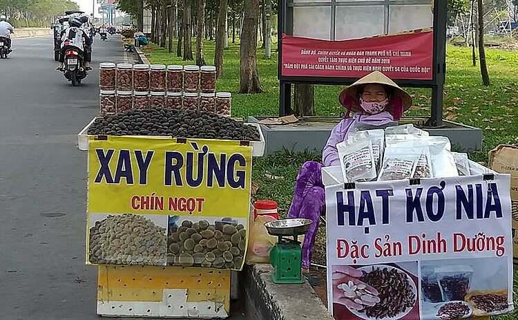 Hạt kơ nia được rao bán đầy đường cả tuần nay tại TP HCM. Ảnh: Thi Hà.