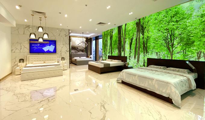 Chuyển tải thông điệp bảo vệ môi trường, showroom Kymdan tại Vincom Center Phạm Ngọc Thạch thiết kế với sắc xanh nhẹ nhàng.