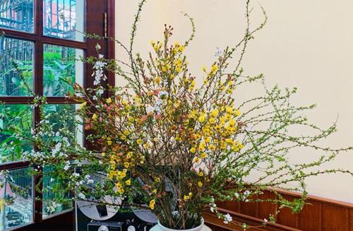 Hoa tuyết mai màu trắng và hoa thanh liễu màu vàng đang được bày bán nhiều trên thị trường Hà Nôi. Ảnh: NVCC