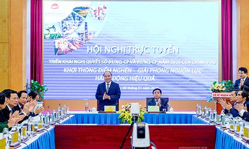 Thủ tướng Nguyễn Xuân Phúc tại hội nghị tổng kết ngành kế hoạch, đầu tư ngày 9/1. Ảnh: VGP